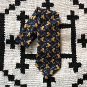 Blue and gold chariot Parisian silk tie